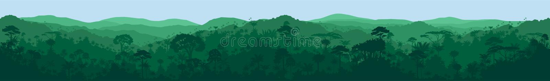 导航长的水平的无缝的热带雨林密林背景 向量例证