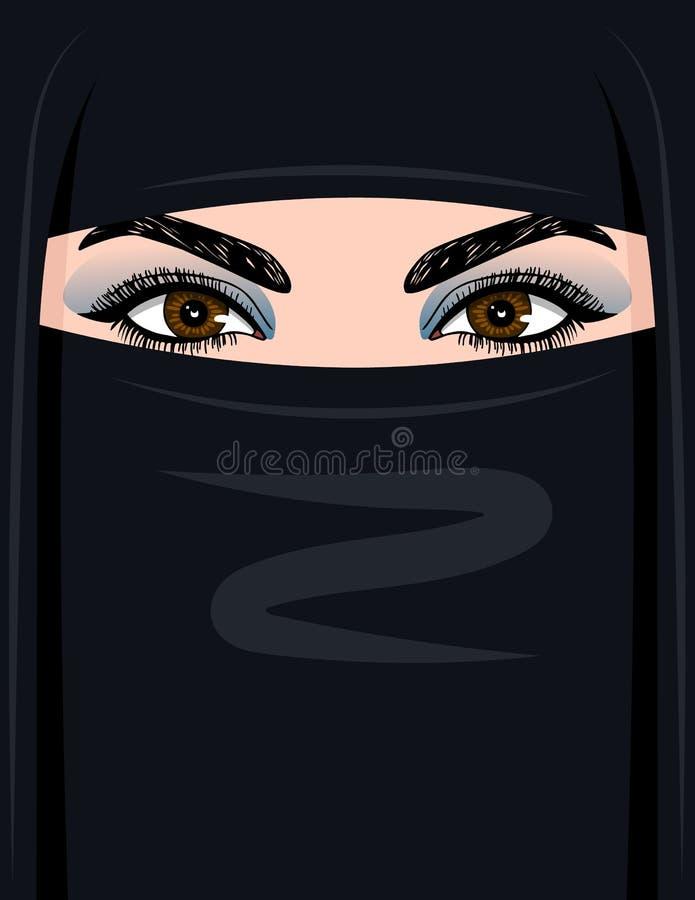 导航阿拉伯妇女的彩色插图hijab的 向量例证