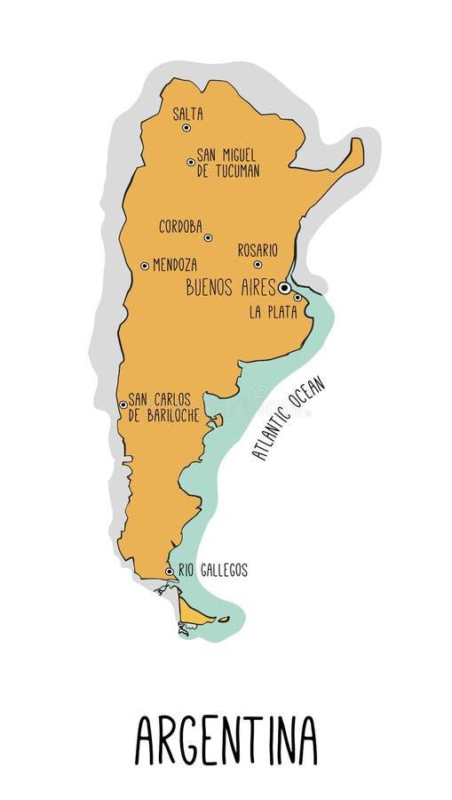 导航阿根廷的手拉的地图有主要城市的 每elemen 向量例证