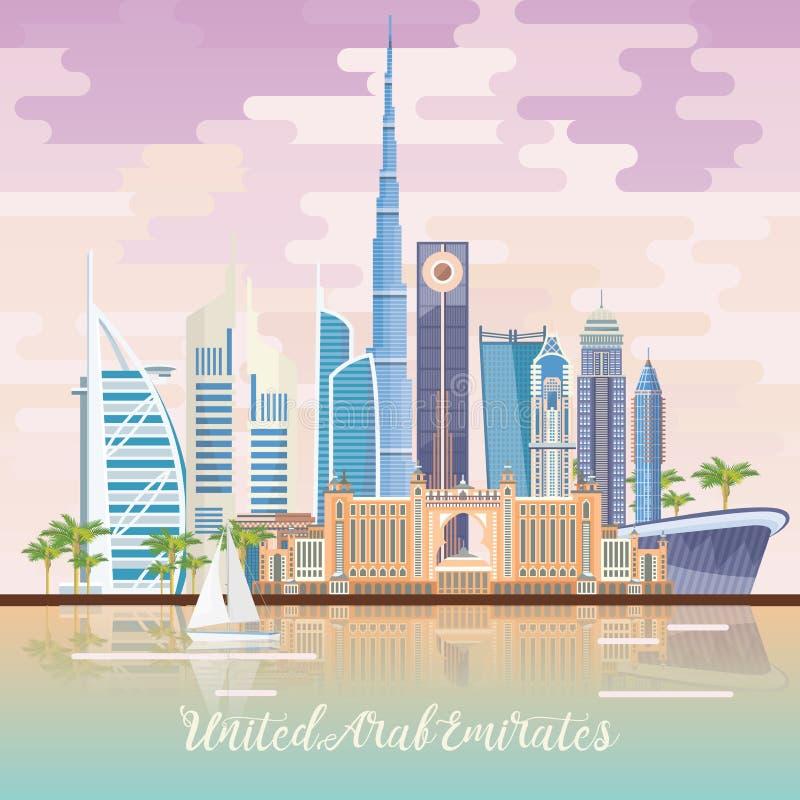 导航阿联酋的旅行海报有镜子作用的 与现代大厦的阿拉伯联合酋长国轻的样式的背景和清真寺 皇族释放例证