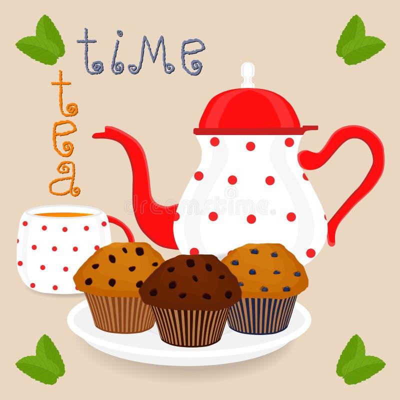 导航陶瓷杯子的,五颜六色的茶壶例证商标 库存例证