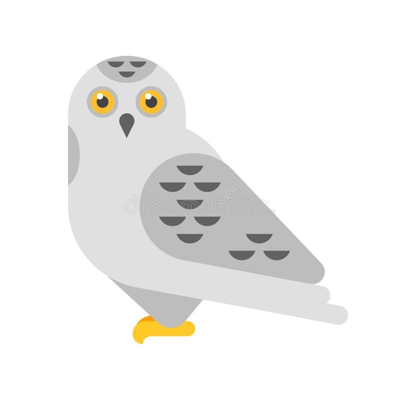 导航雪白色猫头鹰的平的样式例证 向量例证