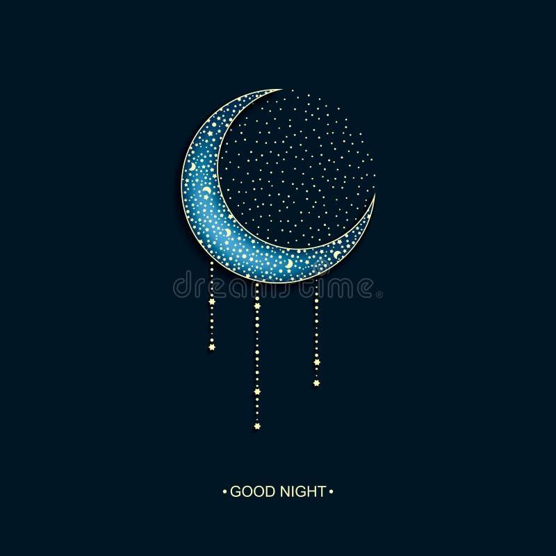 导航霓虹蓝色背景与阿拉伯装饰的月亮和星和词晚上好 库存例证