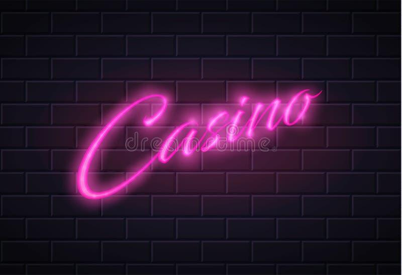 导航霓虹赌博娱乐场啤牌卡片标志砖墙 皇族释放例证