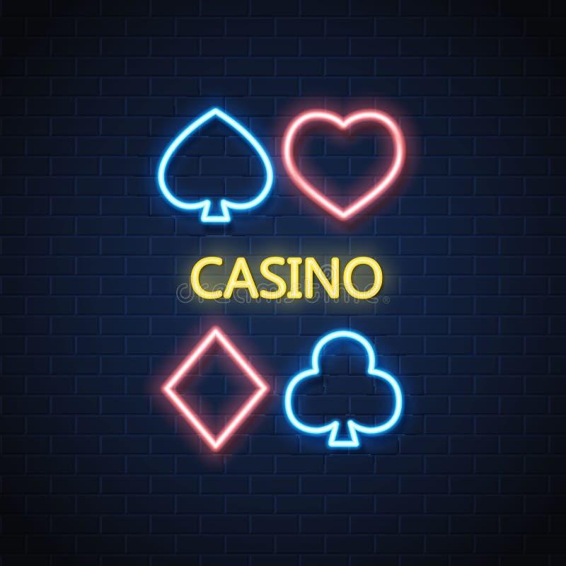 导航霓虹赌博娱乐场啤牌卡片衣服标志砖墙 皇族释放例证