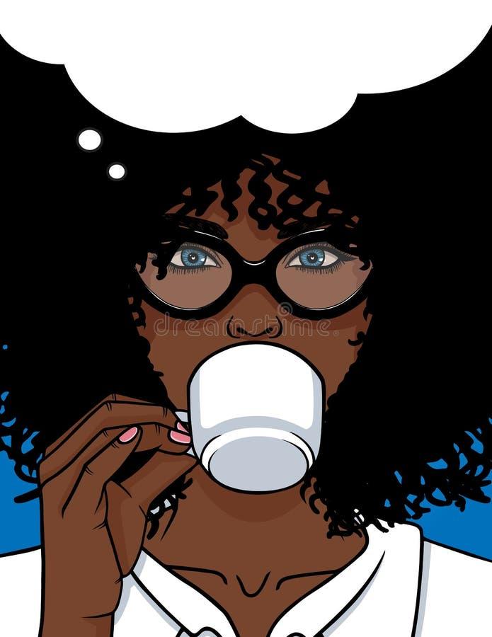 导航非裔美国人的类型与玻璃和卷发的妇女面孔的例证 向量例证