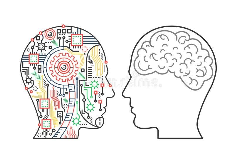 导航靠机械装置维持生命的人机械头的例证和人一个与脑子 向量例证
