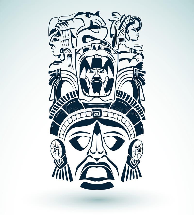 导航面具,墨西哥玛雅-阿兹台克主题-标志 向量例证