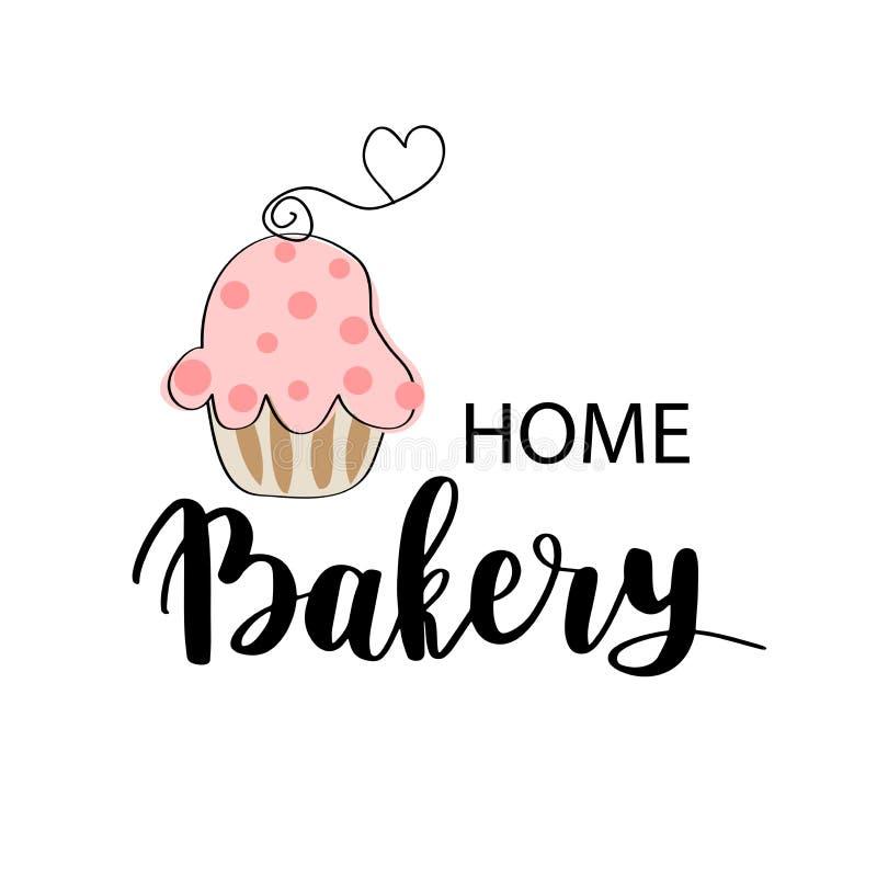 导航面包店、点心商店或面包店商标、标记或者标签设计 在词组和逗人喜爱的桃红色杯形蛋糕上写字的家庭烘烤的略写法 库存例证