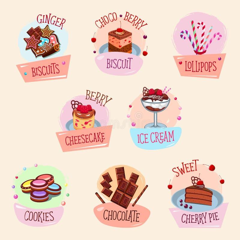 导航面包店点心、蛋糕和冰淇凌 库存例证