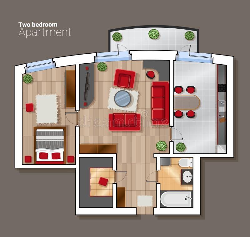 导航顶视图房子屋子的楼面布置图 与家具的现代餐厅、卧室和卫生间内部 库存例证