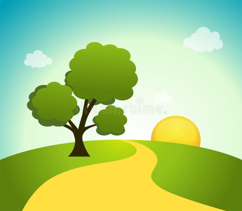 招聘天空,树和日出领域的例证重庆上涵景观设计导航图片