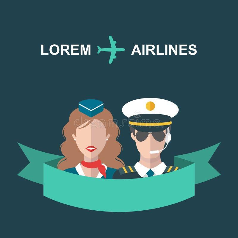 导航飞机、空中小姐和飞行员有丝带的和地方的例证文本的在时髦平的样式 皇族释放例证
