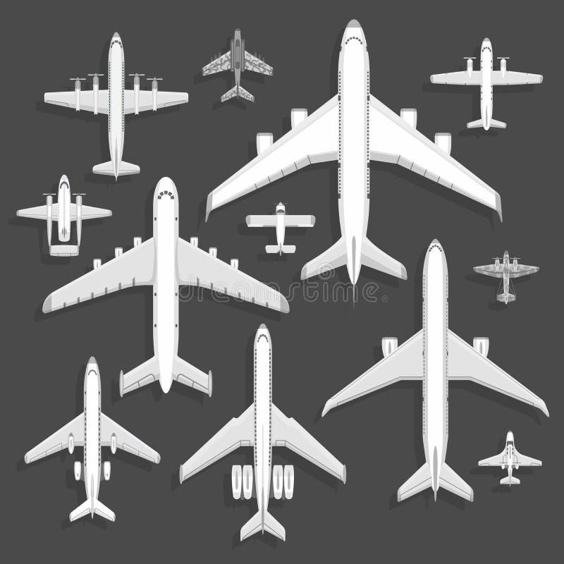 导航飞机象顶视图在背景隔绝的传染媒介例证 由机场飞行假期运输的旅行 皇族释放例证