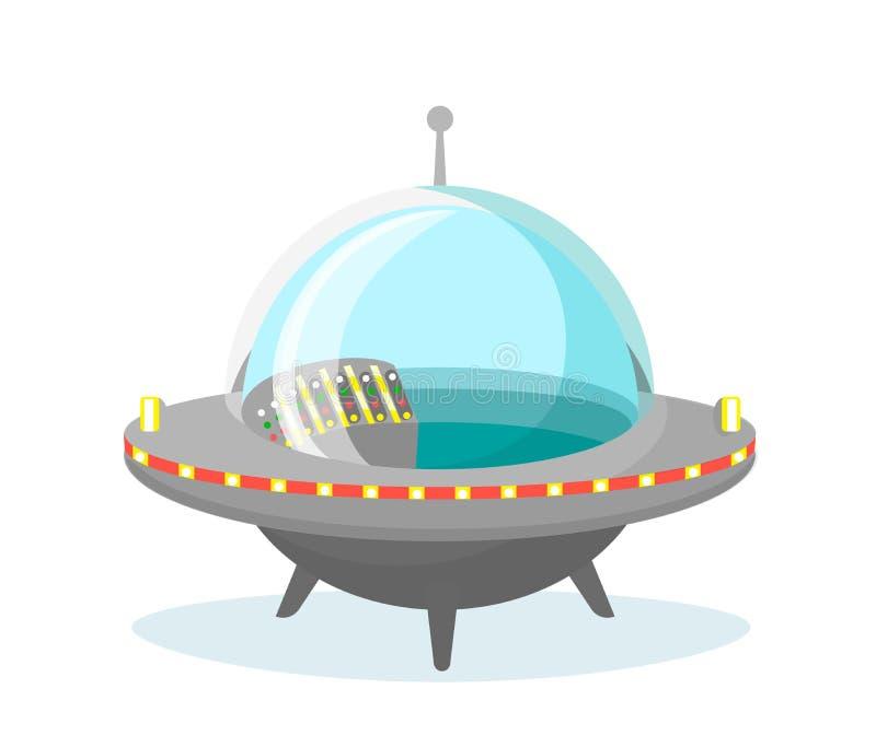 导航飞碟在白色背景的太空飞船象的例证在平的设计 库存例证