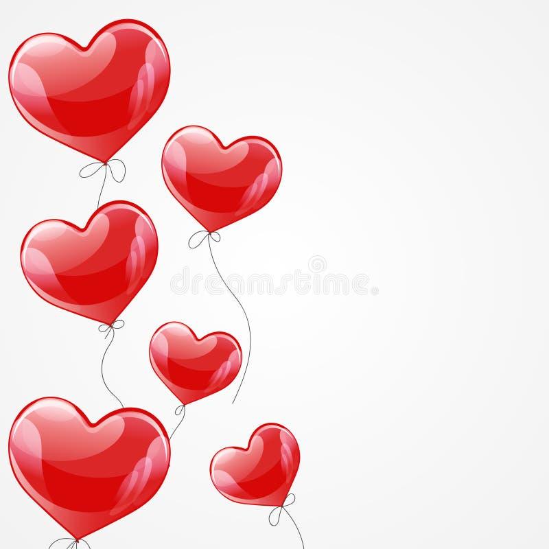导航飞行红色气球心脏的假日例证 Y 向量例证
