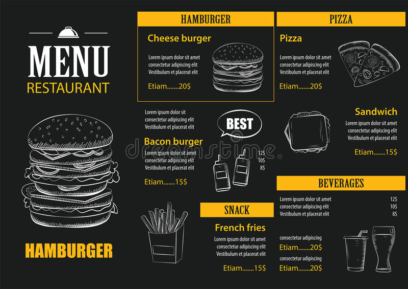 导航餐馆与手拉的图表模板的咖啡馆菜单 向量例证