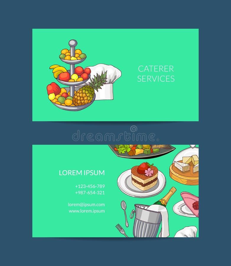 导航餐馆或承包餐食者的名片模板 皇族释放例证