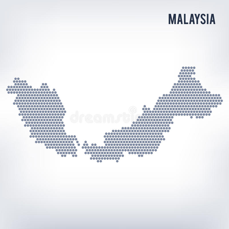 导航马来西亚的六角形地图灰色背景的 向量例证