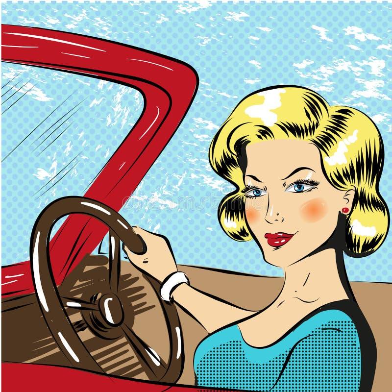 导航驾驶红色敞蓬车的妇女的流行艺术例证 向量例证
