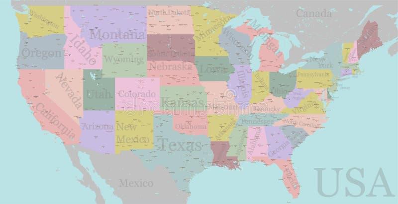 导航高详细的准确美国映射,美国路,机动车路m 向量例证