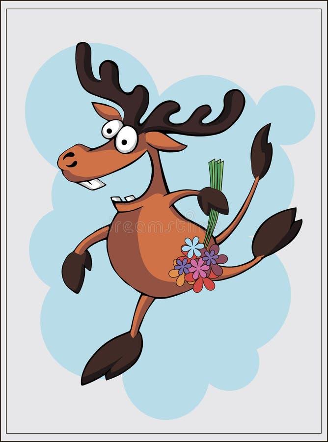 导航鹿的例证,麋卡片 库存图片