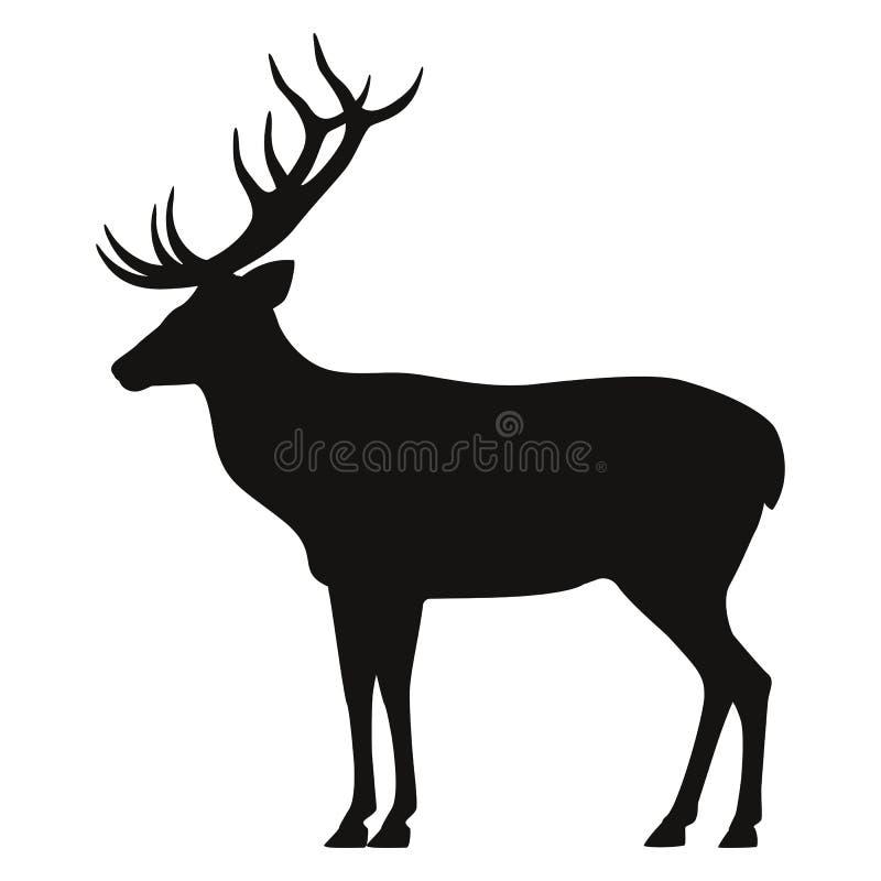 导航鹿的一个黑剪影的例证 查出的空白背景 有角的鹿象侧视图,外形图片