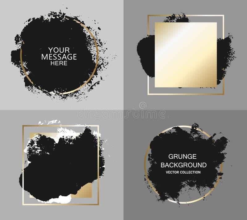 导航黑油漆,着墨刷子冲程、刷子、线或者纹理 构造艺术性的设计元素、箱子、框架或者背景文本的 皇族释放例证
