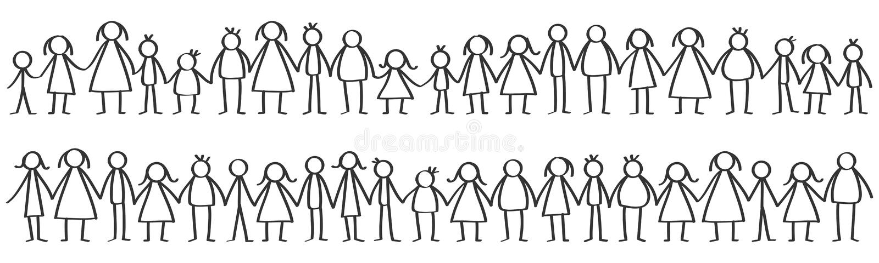 导航黑男性和女性站立在行的棍子形象的例证握手 向量例证