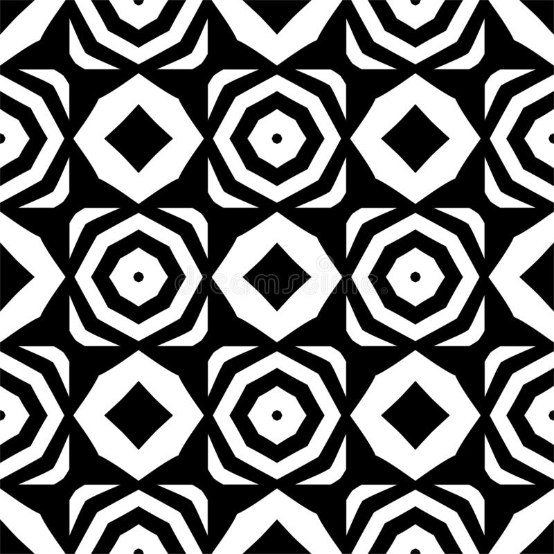 导航黑白无缝的八角形物和菱形样式,简单的抽象设计 皇族释放例证