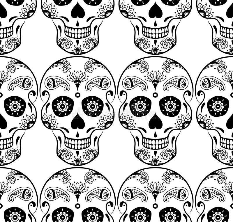 导航黑糖头骨的无缝的样式有乱画花的 库存例证
