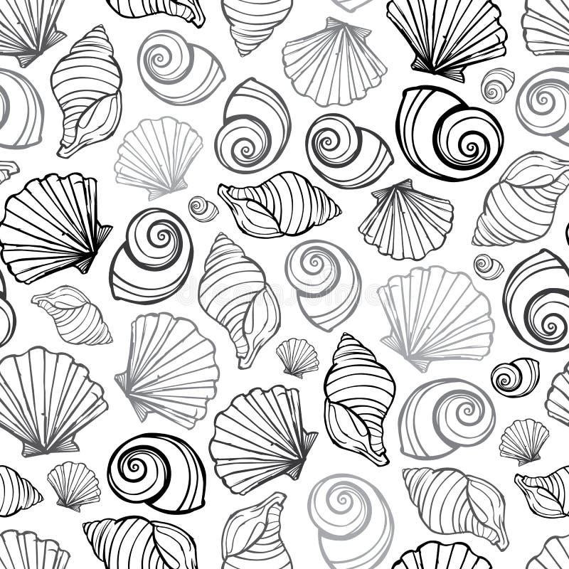 导航黑,白色和灰色贝壳重复样式 适用于缎带包装、纺织品和墙纸 向量例证
