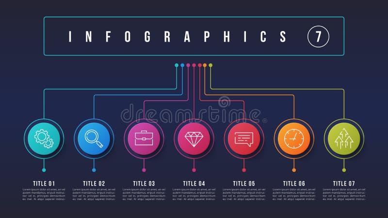 导航7个选择infographic设计,结构图, 皇族释放例证