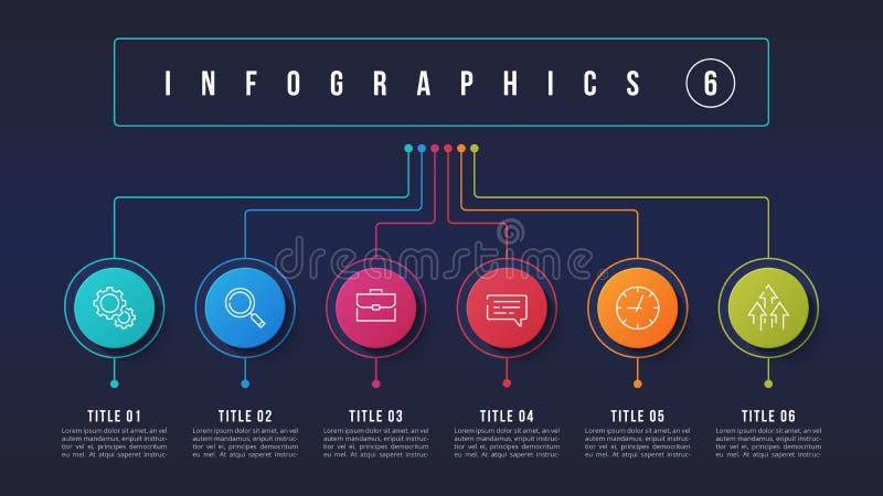 导航6个选择infographic设计,结构图, presentati 皇族释放例证