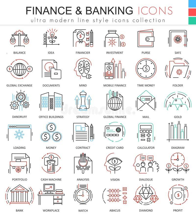 导航财务和开户超apps和网络设计的现代颜色概述线象 财务被设置的金钱象 皇族释放例证