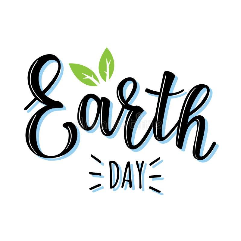 导航`地球日`字法的例证 库存例证
