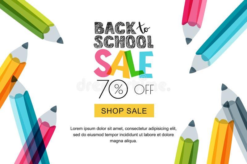 导航水平回到学校销售横幅,海报背景 手拉的剪影信件和多色铅笔 向量例证