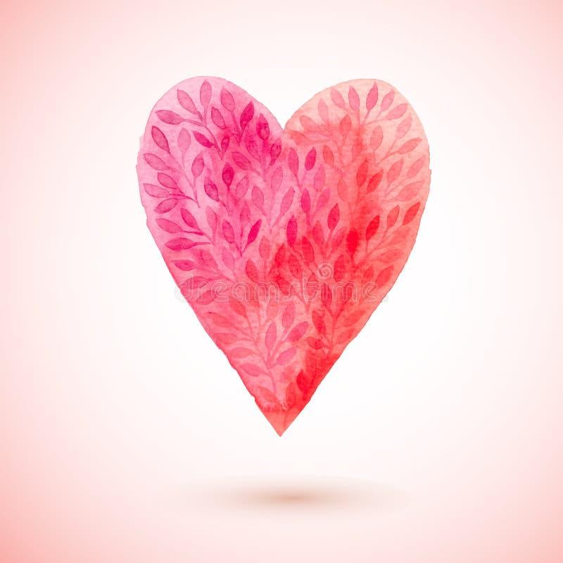 导航水彩心脏,情人节心脏标志由花叶子制成 水彩绘了红色心脏,您的des的传染媒介元素 向量例证