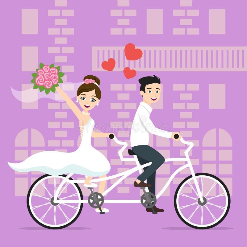 导航年轻愉快的新婚佳偶新娘和新郎的例证 皇族释放例证