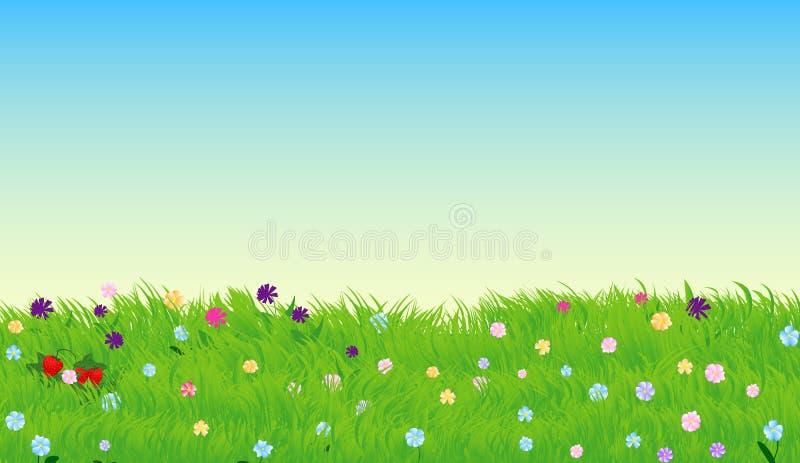 导航晴朗的草甸的例证有绿草和花的 向量例证