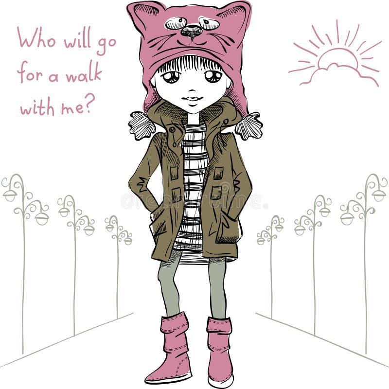 导航滑稽的帽子的逗人喜爱的女孩有枪口猫的 向量例证