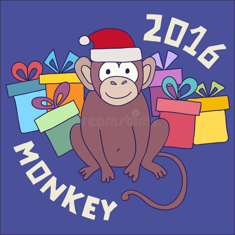 导航滑稽的猴子,孩子的例证愉快的猴子 明信片新年快乐2016年 皇族释放例证