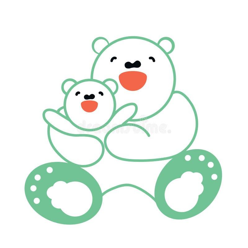 导航贴纸、卡片与愉快的母亲和儿童白熊 库存例证