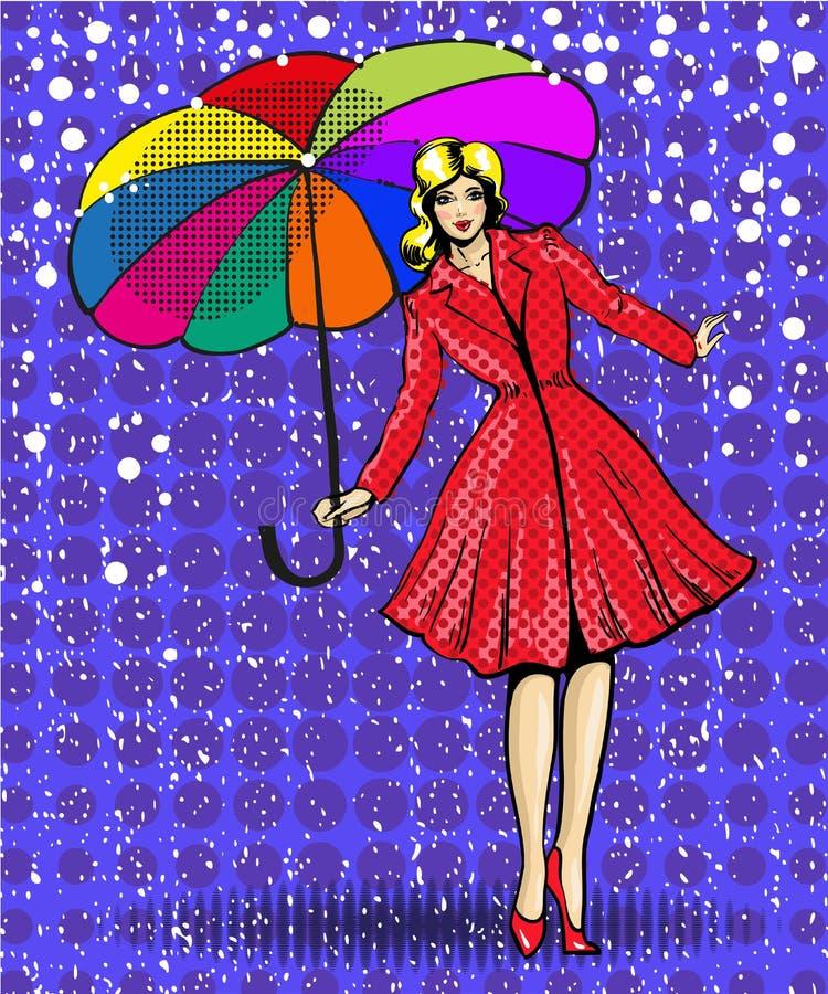 导航年轻美丽的妇女的流行艺术例证有伞的 向量例证