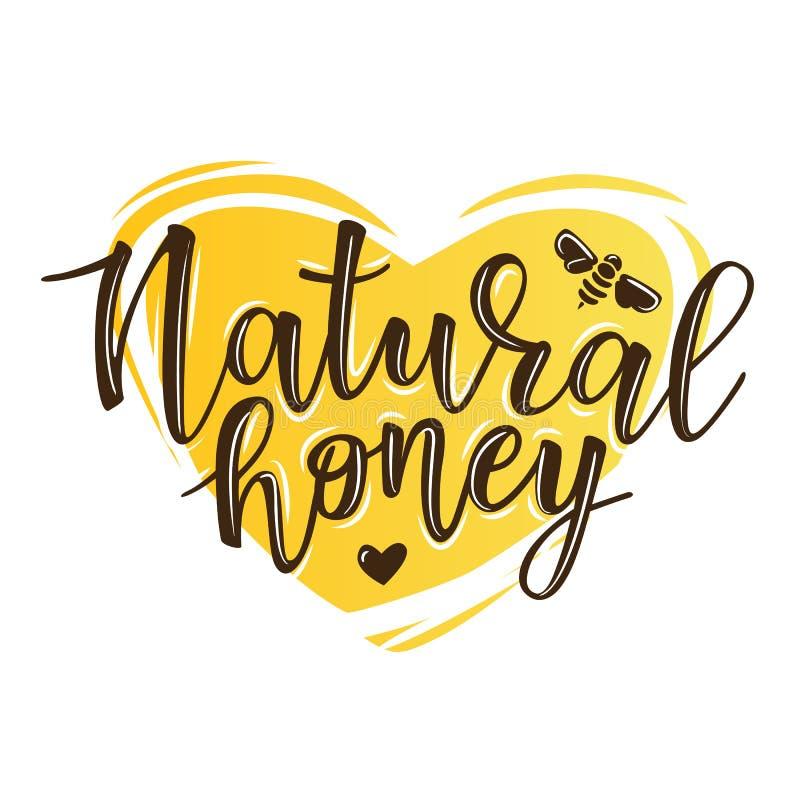 导航`自然蜂蜜`字法的例证 皇族释放例证