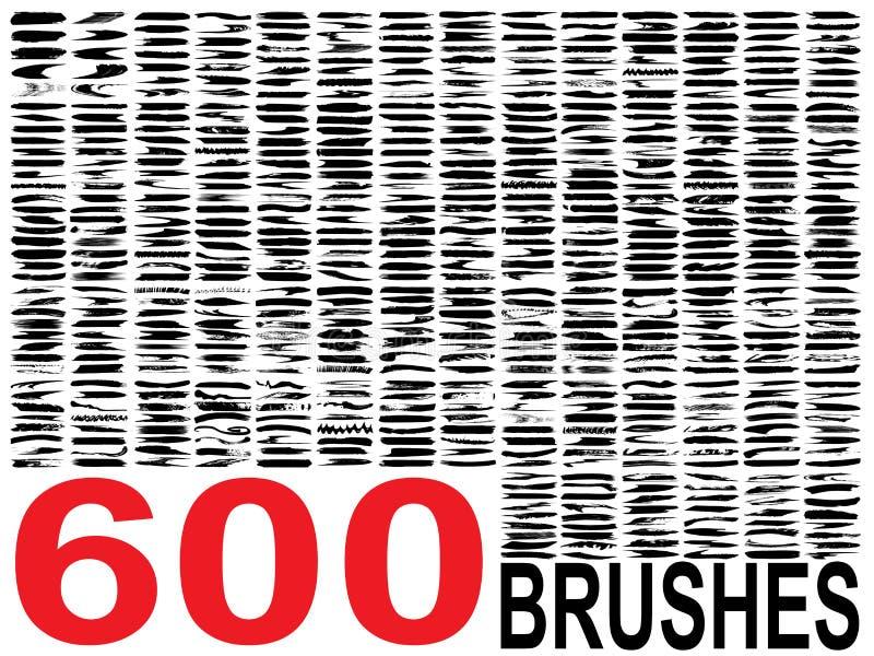 导航600艺术性的脏的黑油漆的汇集 向量例证