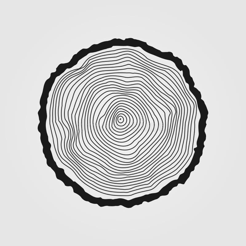 导航年轮背景和锯裁减树干 向量例证