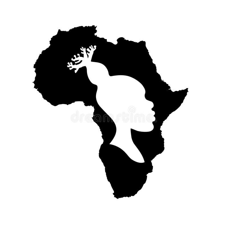 导航黑非洲的剪影有白色非洲妇女头的 向量例证