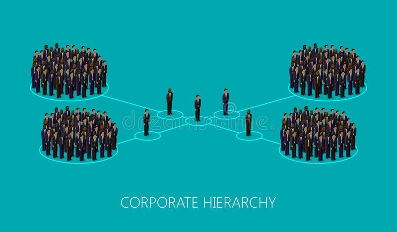 导航3d一个公司阶层结构的等量例证 领导概念 管理和职员组织 皇族释放例证
