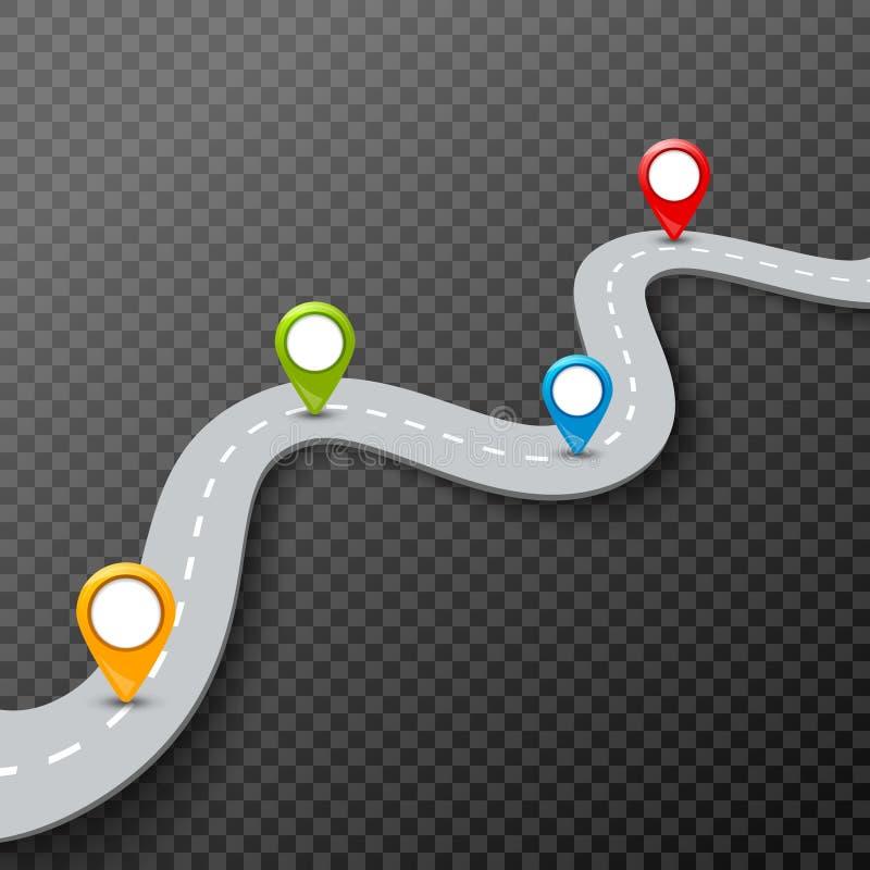 导航3d与别针,尖的路infographic例证 街道信息概念 柏油路infographic和五颜六色的别针 皇族释放例证